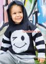 Для мальчика 1,5-7 лет. Пуловер с капюшоном и мотивом Смайлик. Спицы