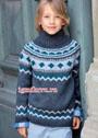 Для мальчика 6-10 лет. Теплый жаккардовый свитер. Спицы