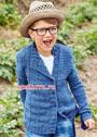 Для мальчика 5-10 лет. Джинсово-синий жакет с асимметричными полочками. Спицы