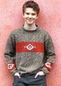 Для мальчика 9-16 лет. Меланжевый пуловер с орнаментом. Спицы