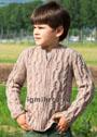 Для мальчика 3-9 лет. Бежевый жакет с косами и застежкой-молнией. Спицы