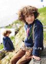 Для мальчика 4-10 лет. Теплый пуловер с капюшоном и узором из ромбов. Спицы
