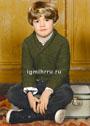 Для мальчика 2-12 лет. Шерстяной пуловер цвета мха, связанный платочной вязкой. Спицы