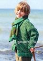 Для мальчика 3-10 лет. Жакет на пуговицах и шарф в зелено-коричневых тонах. Спицы