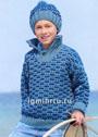 Для мальчика 4-10 лет. Теплый комплект в сине-голубых тонах: пуловер с высоким воротом и шапка. Спицы