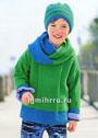 Для мальчика 2-8 лет. Зеленый пуловер с синей отделкой, шапка и шарф-петля. Спицы