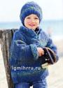 Для мальчика 3-10 лет. Сине-зеленый теплый пуловер и шапочка. Спицы