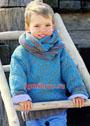 Для мальчика 2-8 лет. Теплый жаккардовый пуловер и шарф-петля. Спицы