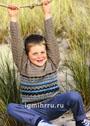 Для мальчика 4-10 лет. Теплый пуловер с жаккардовым узором. Спицы