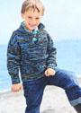 Для мальчика 3-9 лет. Коричнево-бирюзовый меланжевый пуловер с застежкой. Спицы