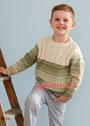Для мальчика 3-11 лет. Разноцветный пуловер с белой кокеткой из кос. Спицы