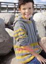 Для мальчика 4-10 лет. Серо-желтый пуловер с капюшоном. Спицы
