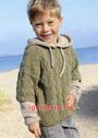 Для мальчика 3-9 лет. Двухцветный пуловер с капюшоном и косами. Спицы