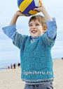 Для мальчика 3-11 лет. Пуловер с крупным шахматным узором. Спицы
