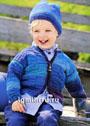 Для мальчика 1,5-9 лет. Жакет и шапочка из пряжи секционного крашения в синих тонах. Спицы