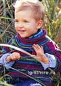 Для мальчика 1-6 лет. Разноцветный теплый пуловер с высоким воротом. Спицы