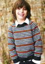 Для мальчика 4-10 лет. Пуловер с полосками трех цветов. Спицы