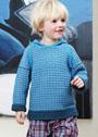 Для мальчика 2-8 лет. Пуловер в синих тонах с капюшоном. Спицы