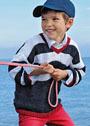 Для мальчика 1,5-9 лет. Трехцветный полосатый пуловер с рельефным узором. Спицы
