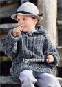Для мальчика 2-8 лет. Серый меланжевый пуловер с отложным воротником. Спицы