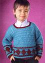 Для мальчика 4 лет. Пуловер с орнаментом из ромбов. Крючок