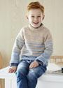 Для мальчика 3-13 лет. Бежево-голубой пуловер с полосками. Спицы