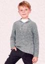 Для мальчика 5-11 лет. Серый джемпер с шалевым воротником-поло. Спицы