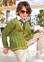 Для мальчика 5-11 лет. Зеленый жакет с косами. Спицы