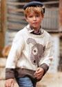 Для мальчика 2-9 лет. Пуловер с мотивом Милый щенок. Спицы