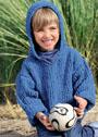 Для мальчика 3-9 лет. Синий джемпер с капюшоном. Спицы