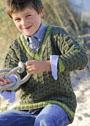 Для мальчика 3-9 лет. Зеленый пуловер с шахматным узором. Спицы