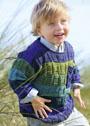 Для мальчика 2-6 лет. Пуловер в сине-зеленых тонах с рельефным узором. Спицы