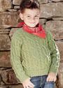 Для мальчика 6-12 лет. Пуловер с узором из кос. Спицы