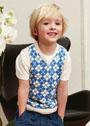 Жаккардовый жилет для мальчика 2-8 лет. Спицы