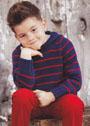Для мальчика 4-10 лет. Пуловер в полоску с капюшоном. Спицы