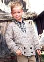Для мальчика 5-13 лет. Двубортный жакет с рельефным узором. Спицы