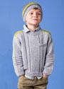 Для мальчика 4-12 лет. Серый пуловер с яркими погонами и полосатая шапочка. Спицы