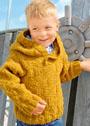 Для мальчика 1-6 лет. Теплый пуловер с простым рельефным узором и капюшоном. Спицы