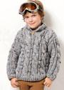 Для мальчика 6-16 лет. Серый объемный пуловер с косами. Спицы