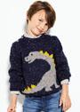Для мальчика 2-10 лет. Пуловер с жаккардовым узором Динозавр. Спицы