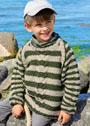Для мальчика 3-9 лет. Теплый пуловер в полоску с узором коса. Спицы