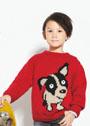 Для мальчика 2-10 лет. Пуловер с мотивом Щенок. Спицы