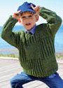 Для мальчика 2-7 лет. Пуловер с рельефными квадратами. Спицы