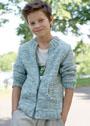 Для мальчика 8-15 лет. Серо-зеленый жакет с карманами. Спицы