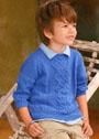 Для мальчика 3-9 лет. Голубой летний пуловер с аранами. Спицы