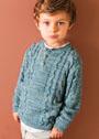 Для мальчика 6-16 лет. Меланжевый пуловер с рельефными узорами. Спицы