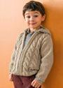 Для мальчика 2-10 лет. Бежевый жакет с косами. Спицы