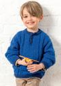 Для мальчика 2-10 лет. Синий пуловер поло. Спицы