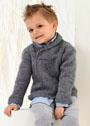 Для мальчика 2-14 лет. Классический пуловер с шалевым воротником. Спицы