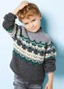 Для мальчика 2-10 лет. Жаккардовый пуловер-реглан. Спицы